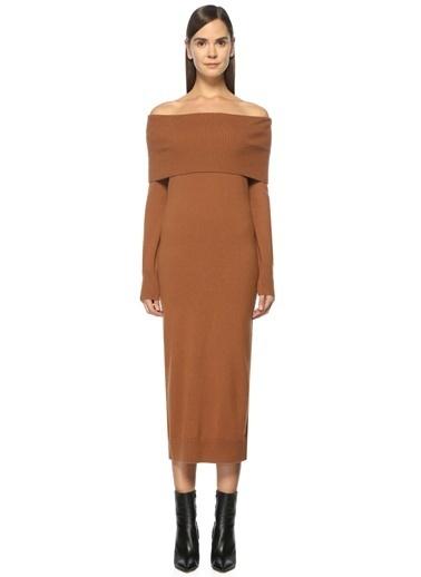 Theory Kayık Yaka Midi Triko Elbise Camel
